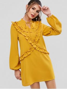 No Fall and Spring Nonelastic Solid Tie Long Bowknot Mini Straight Day Fashion Tie Collar Lettuce Trim Keyhole Long Sleeve Dress