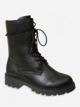 Trendy Leather Lace-Up Solid Chunky Round Mid-Calf Fall and Spring Fashion For Plain Round Toe Lace Up Mid Calf Boots