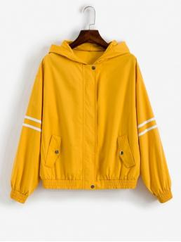 Autumn Striped Hooded Drop Full Regular Wide-waisted Casual Jackets Daily Striped Patched Zip Up Hooded Windbreaker Jacket