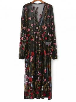 Fall No Floral Embroidery Long V-Collar Mid-Calf Straight Novelty Mesh Floral Embroidered Sheer Dress