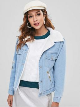 No Autumn and Winter Embroidery and Pockets Floral Single Turn-down Full Regular Wide-waisted Casual Jackets Daily Faux Fur Lined Flower Embroidered Denim Jacket
