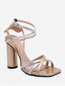 PU Others Buckle Chunky Ankle-Wrap Casual Ethnic For Strappy Chunky Heel Sandals