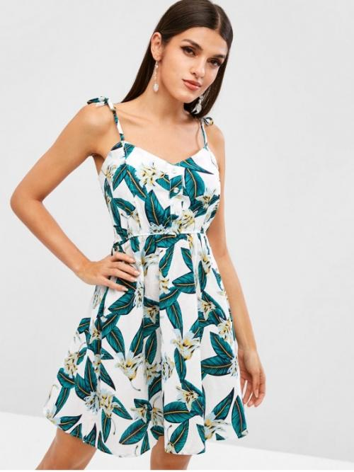 No Summer Nonelastic Floral and Leaf Button Sleeveless Spaghetti Mini A-Line Vacation Fashion Smocked Half Buttoned Leaves Floral Dress