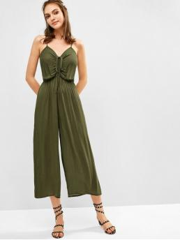 Summer No Solid Sleeveless Spaghetti Regular Fashion Daily and Going Cami Wide Leg Drawstring Jumpsuit