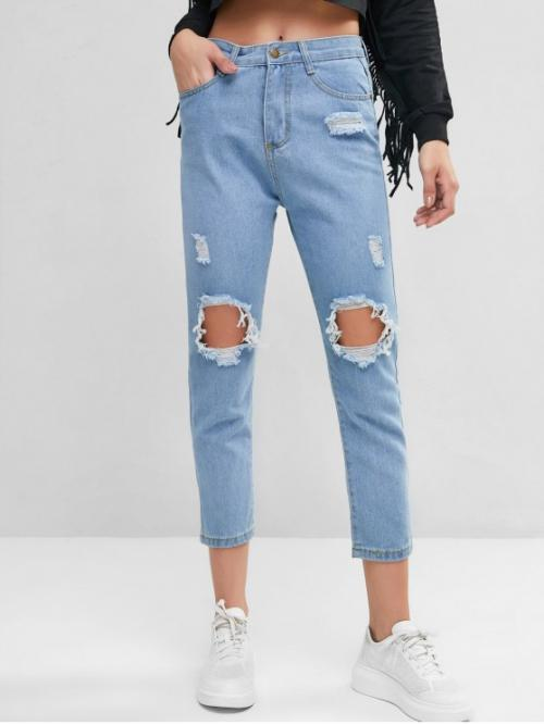 Nonelastic Fall and Spring Pocket and Ripped Zipper Mid Regular Ninth Light Fashion Mid Rise Destroyed Ninth Straight Jeans