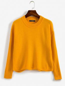 Full Sleeve Pullovers Polyacrylic School Bus Yellow Ribbed Sleeve Drop Shoulder Sweater Discount