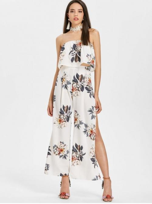 Fall and Spring and Summer Floral Pleated Zipper High Sleeveless Strapless Straight Fashion Beach Bandeau Top and Palazzo Pants Matching Set
