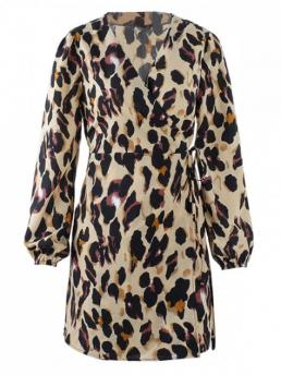 Fall and Spring and Summer No Leopard Long V-Collar Wrap Mini Casual Wrap Leopard Wrap Dress
