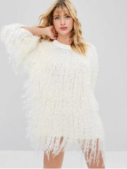 Fringed Fluffy Mini Sweater Dress