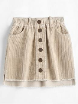 No Fall and Spring and Summer Elastic Frayed and Pockets Solid A-Line Mini Daily Fashion Frayed Buttoned Corduroy Skirt
