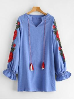 No Fall Floral Embroidery and Tassel Long Raglan V-Collar Mini Straight Casual and Vacation Casual Tassel Flower Embroidered Chambray Dress