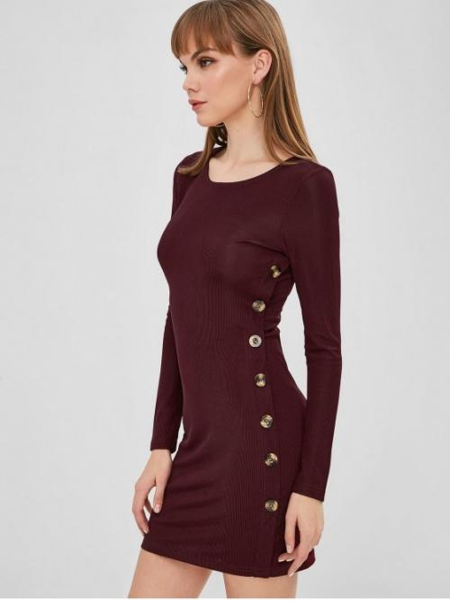 No Fall and Spring Solid Button Long Round Mini Bodycon Work Brief Buttoned Long Sleeve Bodycon Dress