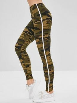 Winter Camo and Striped Mid Daily and Going Casual Striped Patched Camouflage Skinny Leggings