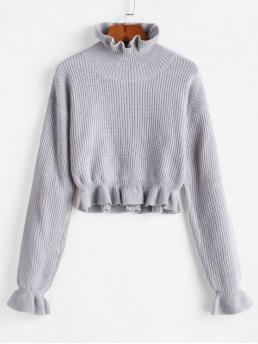 Autumn and Spring and Winter Solid Elastic Full Ruff Short Regular Fashion Daily and Going Pullovers Solid Ruffled Pullover Sweater