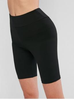 Fall Short Solid Elastic High Daily Fashion Basic Bike Shorts