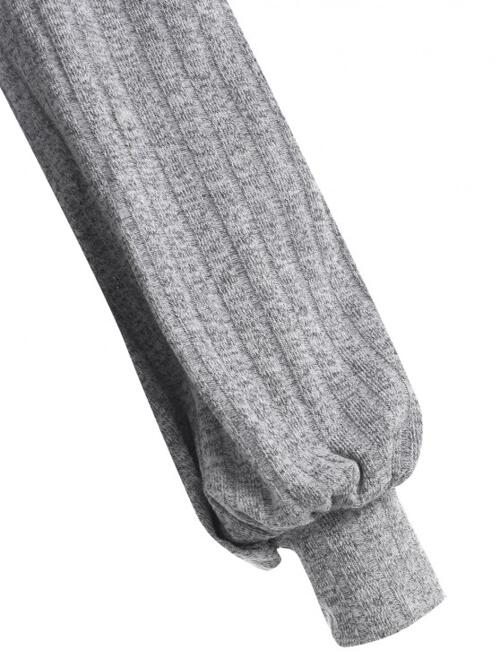 Fashion Full Sleeve Cotton,polyester Others Light Gray Ribbed up Top