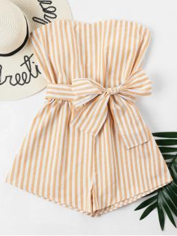 Spring and Summer Yes Striped Sleeveless Strapless Regular Fashion Daily Striped Tube Romper