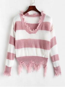 Autumn and Spring Ripped Stripe Elastic Full Drop V-Collar Regular Loose Fashion Daily Pullovers Distressed Striped Chunky Sweater