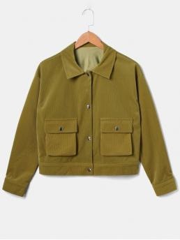 Autumn and Winter Pockets Solid Single Shirt Full Regular High Fashion Jackets Daily and Outdoor Boxy Corduroy Pocket Jacket