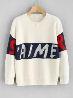 Autumn and Spring and Winter Graphic Elastic Full Crew Regular Regular Casual Daily Pullovers Letter Graphic Sweater