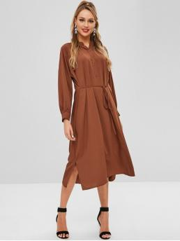 Fall No Solid Slit Long Raglan V-Collar Mid-Calf A-Line Casual Casual Half Button Side Slit Belted Dress