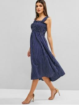 No Summer Striped Sleeveless Square Mid-Calf A-Line Casual and Day Casual Striped Smocked Square Neck Dress