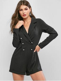 Fall No Button and Pockets Solid Long Lapel Regular Fashion Going Lapel Cuffed Buttoned Long Sleeve Blazer Romper
