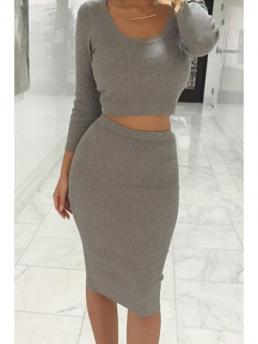 Solid Pencil Mid-Calf Long Sleeve Crop Top + Solid Color Pencil Skirt Twinset