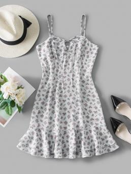Womens White Floral Sleeveless Polyester Tie Ditsy Print Flounce