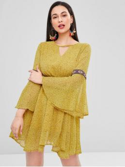 No Spring and Summer Print Backless and Hollow 3/4 Flare Round Mini Swing A-Line Casual and Day Brief Flare Sleeve Backless Mini A Line Dress