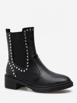 PU Rivet Slip-On Solid 4CM Chunky Round Mid-Calf Winter Fashion For Mid Calf Chelsea Boots with Studs