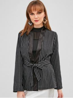 Spring Striped Full Shawl Regular Loose Casual Striped Slit Wrap Blazer