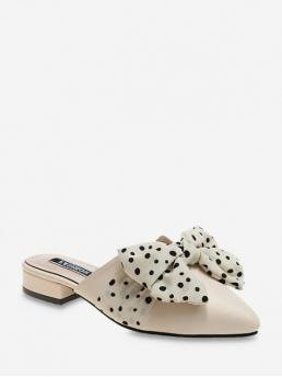 Fall and Summer Bow Dot Daily Fashion PU Slip-On Pointed Closed 3CM For Slip-On Pointed Toe Polka Dot Bow Slingback Flat Shoes