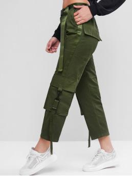 Fall and Spring Yes Elastic Straight Normal Solid Pockets Straight High Casual Belted Tape Side Straight Cargo Pants