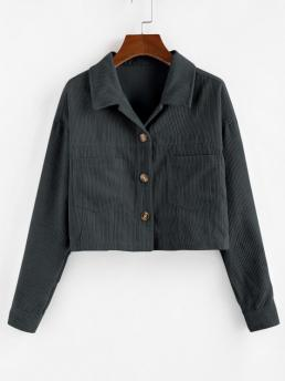 Full Sleeve Wide-waisted Polyamide,polyester Solid Corduroy Front Crop Jacket Pretty