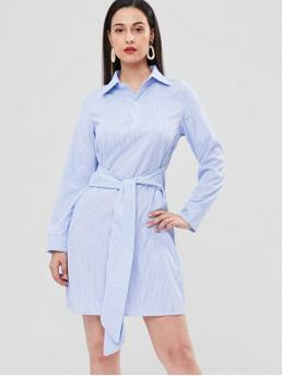 No Fall and Spring Striped Long Shirt Knee-Length Shirt Straight Casual and Day Brief Front Knot Striped Shift Shirt Dress