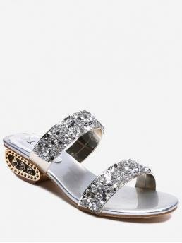 Summer PU 5CM Rubber Rhinestone Others Slip-On Chunky Slides Daily Fashion For Strange Heel Shiny Slides