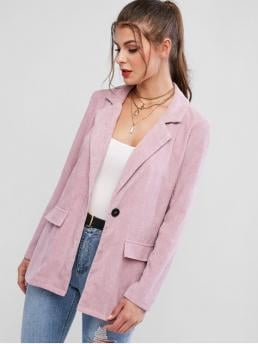 Fall and Spring and Winter Button Solid Nonelastic Single Full Lapel Long Regular Fashion Faux Pockets One Buttoned Corduroy Blazer