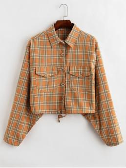 Nonelastic Autumn Front Letter and Plaid Single Shirt Full Short Wide-waisted Fashion Jackets Daily Drawstring Hem Graphic Plaid Jacket