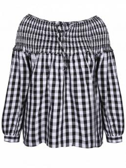 Fall and Spring Plaid Full Boat Fashion Boat Neck Lantern Sleeve Blouse