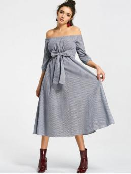 Yes Fall and Spring and Summer Striped 3/4 Off Mid-Calf A-Line Day Brief Stripes Belted Off Shoulder Midi Dress