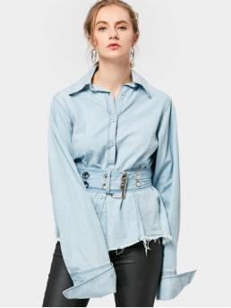Autumn and Spring Solid Full Regular Shirt Fashion Casual Frayed Belted Corset Shirt