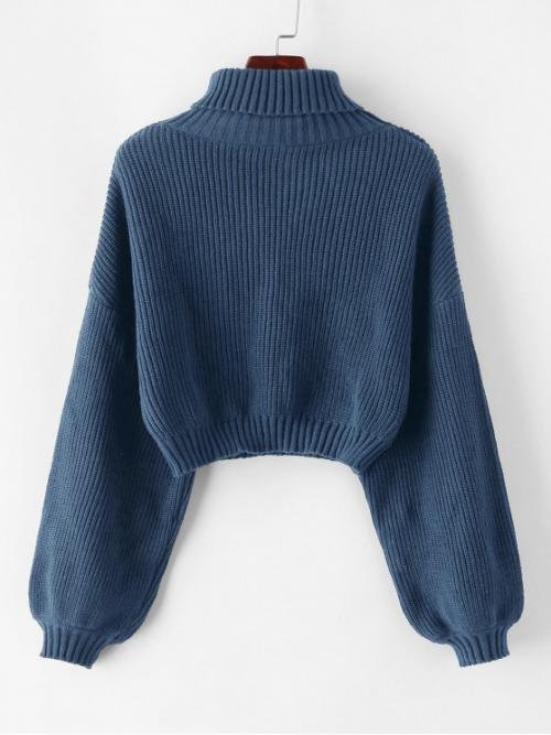 Full Sleeve Pullovers Polyacrylic Solid Turtleneck Lantern Sleeve Cropped Sweater on Sale