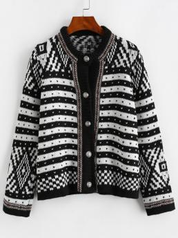 Full Sleeve Cardigans Cotton,polyester Graphic Thick Cardigan Cheap