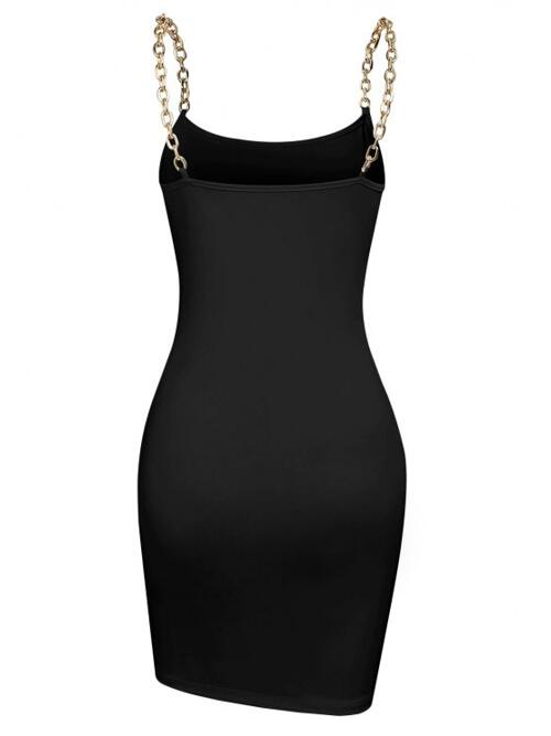 Black Solid Sleeveless Polyester Chain Straps Slinky Dress Ladies