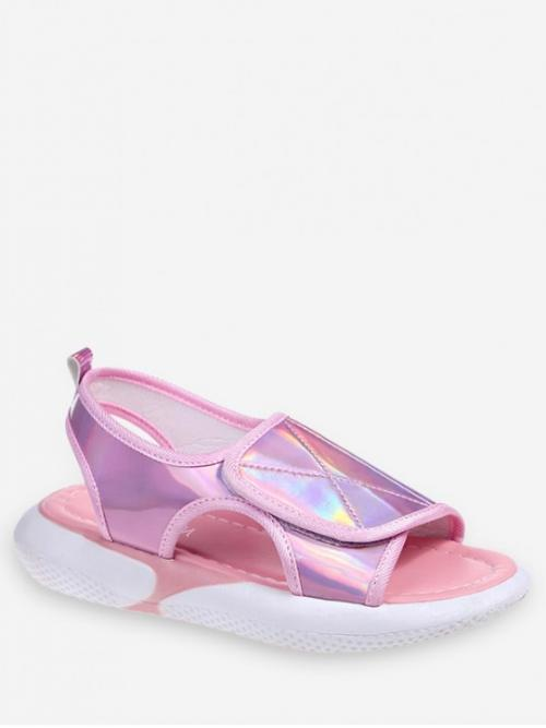 Summer PU Rubber Others Hook Platform Ankle Daily Leisure For Holographic Hook Loop Sandals
