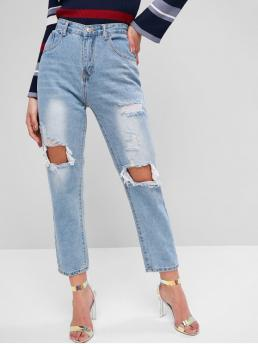 Nonelastic Fall and Spring Pocket and Ripped High Straight Ninth Light Denim Casual Distressed Light Wash Boyfriend Jeans