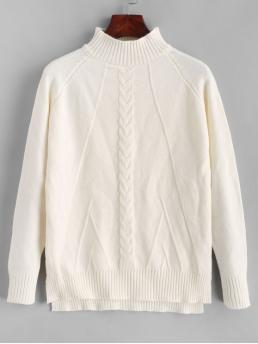 Autumn and Spring and Winter Slit Solid Elastic Full Raglan Mock Regular Regular Fashion Daily and Going Pullovers Mock Neck High Low Slit Cable Knit Sweater
