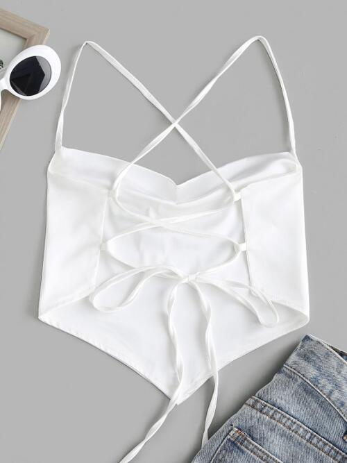 Ladies Polyester,spandex Tie Dye White Sexy Cowl Neck Crisscross Lace-up Backless Bandana Top