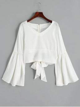 Bowknot Solid Full Flare Short V-Collar Fashion Casual Back Zippered Bowknot Flare Sleeve Blouse
